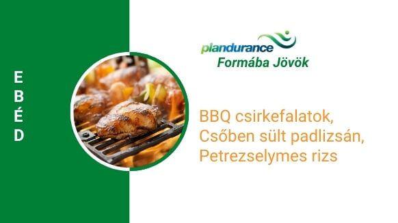 BBQ csirkefalatok, csőben sült padlizsán, petrezselymes rizs ebéd recept