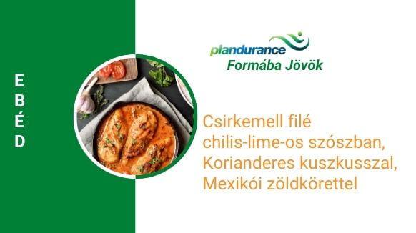 Csirkemell filé, chilis-lime-os szószban, korianderes kuszkusszal, mexikói zöldkörettel ebéd recept