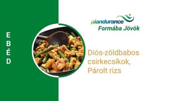 Diós-zöldbabos csirkecsíkok, párolt rizs ebéd recept