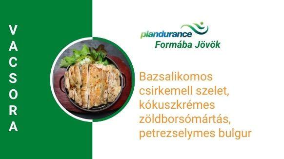 Bazsalikomos csirkemell szelet, kókuszkrémes zöldborsómártás, petrezselymes bulgur vacsora recept