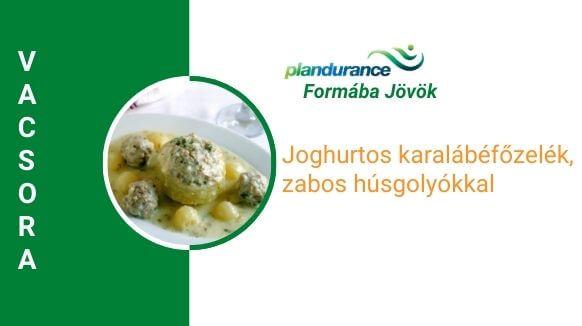 Joghurtos karalábéfőzelék, zabos húsgolyókkal vacsora recept