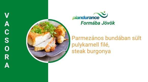 Parmezános bundában sült pulykamell filé, steak burgonya