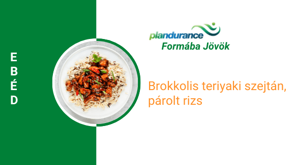 Brokkolis teriyaki szejtán, párolt rizs Ebéd